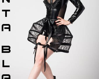Vanta Black Pocket Hoop Bustle -  Including PVC Jumpsuit  / Lady Gaga Burlesque