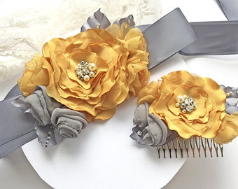 Mustard Yellow Bridal Sash and Hair Comb - Golden Yellow and Grey Fabric Flowers with Swarovski Sew on Crystals & Pearls Belt for Bridesmaid