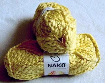Nako Venus Cotton Yarn Boucle yarn, Hupoallergenic yarn. Summer yarn. Yellow (4848). Eq