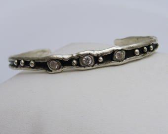 Sterling Silver Cuff Bracelet, Organic Silver Bracelet, Sparkly Silver Bracelet, Silver and Black Bracelet, BoHo Bracelet, BoHo Jewelry