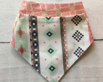 FREE US SHIPPING Bandana Bibs (set of 2) Pink + Mint + Grey + Navy Aztec and Pink Design