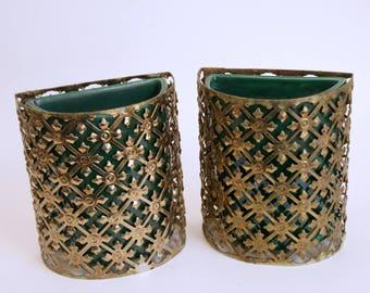 Vintage Planter Set, Green Ceramic Planters, Gold Planter Baskets, Sierra-Columbia, Flower Pots Vases, Punched Metal, Mid Century Decor