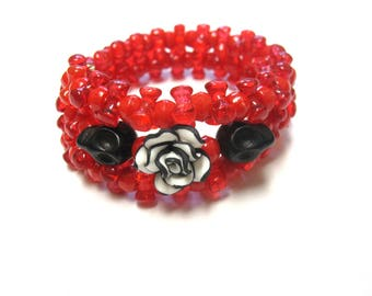 Red Skull Bracelet Day Of The Dead Jewelry