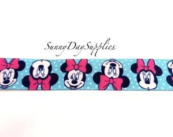 Disney Ribbon, Minnie Mouse Grosgrain Ribbon in Blue with Pink Hairbow, White Polka Dots, 1 YARD,  Disney Ribbon, Minnie Mouse Ribbon