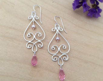 Sterling Silver Heart Filigree Earrings with Pink Pearls and Swarovski Crystals