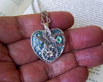 Steampunk Heart Necklace (N709) Aqua Sparkle Base Pendant, Heart Shape Tray, Swarovski Crystals and Silver Gears, Butterfly, Chain