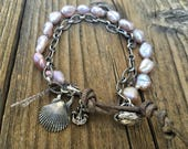 Pink Keishi Pearl Bracelet, Artisan Pure Silver Components, Artisan Button Closure, Seashells Ocean Theme Jewelry