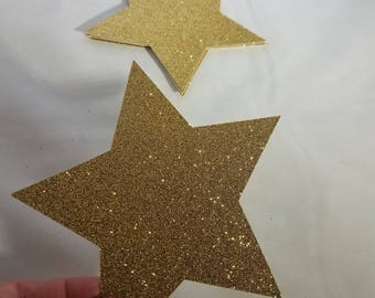 15 Large Glitter Star Die Cuts // Centerpieces // Twinkle Twinkle // Graduation // Baby Shower // Birthday Party // Die Cuts 4 inches