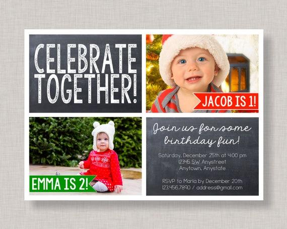 Sibling birthday invitation christmas birthday invitation twin il570xn filmwisefo