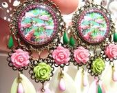 FREE SHIPPING Flamingo Handmade Resin Chandelier Earrings - Colorful - Bird Earrings - In the nature - Tropical Flamingo - Bird Jewelry