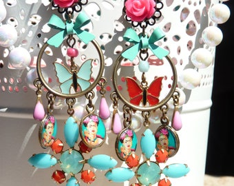FREE SHIPPING Frida Kahlo Handmade Resin Chandelier Earrings - Colorful - Mexican Folk Art Jewelry - Frida Earrings - Frida Jewelry