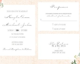 Simple Wedding Invitation, Elegant Wedding Invitation, Black and White invitation