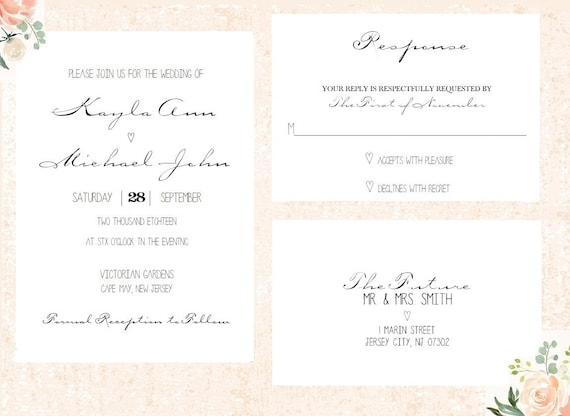 Simple Wedding Invitation, Elegant Wedding Invitation, Black and White invitation