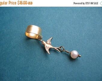 Clearance Signature Design - Bird and Pearl Ear Cuff - Antiqued Brass Bird Charm, Natural Pearl Ear Cuff - Survivor Jewelry - Romantic Love