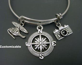 Helicopter Bangle / Travel Bracelet / Helicopter Bracelet / Expandable Bangle  / Adjustable Charm Bracelet  / Compass Bracelet /  Camera