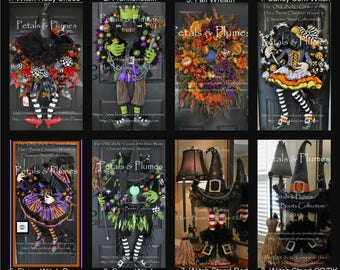 Halloween Wreaths and Stands- Please read Description-See Delivery time- Petals & Plumes- ORIGINAL Creator of the Character Wreath and Stand