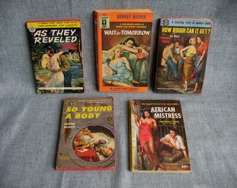 5 Vintage Sleaze Pulp Fiction Paperbacks GGA Cover Art