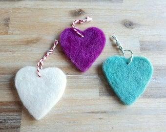 Felt Heart Christmas Tree Decorations - Set of 3 Needle Felted, Mixed Colours, Heart Shape Hanging Decorations