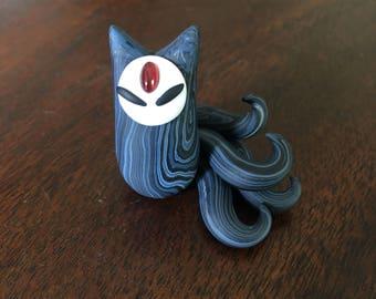 Garnet Kitsune Totem Sculpture
