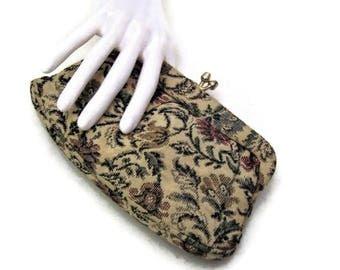 50s Clutch Purse, Tapestry Clutch Purse,  Fabric Clutch Purse, 1950s Pocketbook, Vinyl Trim Purse, Floral Tapestry Clutch, Vegan Friendly