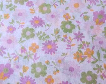 Vintage Voile Fabric Pink Fuchsia Green Saffron Spring Floral 2+Yards 984b
