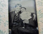 antique miniature gem tintype photo - 1800s, affectionate men with fan, couple