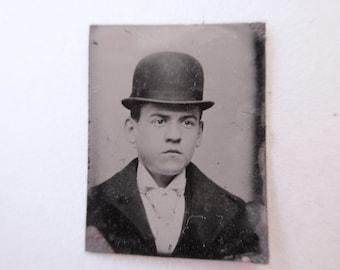 antique miniature gem tintype photo - 1800s, man with hat