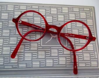 vintage red round eyeglass frames -  glasses, handmade in USA