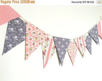 ON SALE Shabby Chic Fabric Banners, Wedding Bunting, Pennents, Coral, Peach and Grey Shade - 3 yards