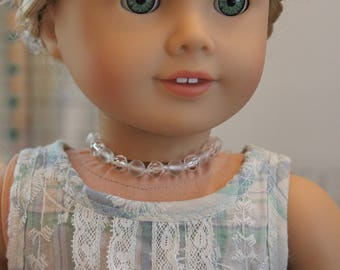 Upcycled Clear Bead Necklace for 18 Inch Doll, AC130