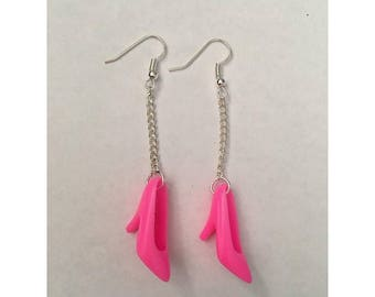 Handmade Hot Pink Barbie Shoe Earrings