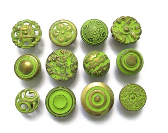CLEARANCE Lot of 12 vintage drawer knobs - All different - Brass and Lime Green - Eclectic Collection