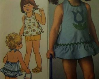 HALTER DRESS Pattern • Simplicity 7553 • Childs 3 • Halter & Shorts • Tie Sundress • Sewing Patterns • Childrens Patterns • WhiletheCatNaps