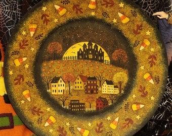 Halloween Folk Art Wood Plate, Primitive  Farmhouse Saltbox Village, Spooky Mansion, Full Moon, Pumpkins, Candy Corn, MADE TO ORDER
