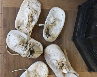 Vintage Collection of White Stiff Leather  Worn Shabby Baby Shoes