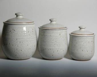 3 piece canister set, white glaze