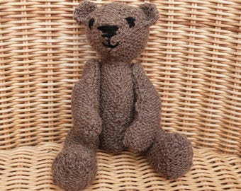 """8"""" brown teddy bear hand made brown bear vintage style traditional teddy bear hand knitted in 100% Wool"""
