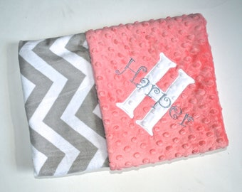 Monogrammed Chevron Baby Blanket - Minky Gray and Coral Peach Personalized - zig zag Blanket with name, Peach, Salmon Newborn