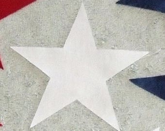 "54 WHITE 2"" FUSIBLE Star Appliques"