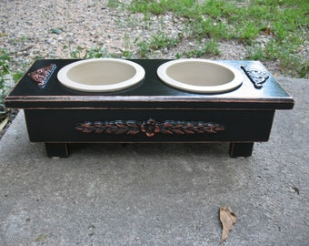 Raised  Dog Bowl Pet Feeder, Ready To Ship, Dog Food, Cats or Dogs Raised Feeder, Wood Pet Feeder, Feeding Stand, 2 One Pint Bowls,