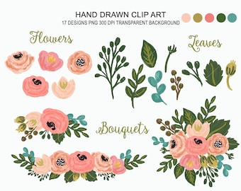 Hand drawn Flowers Clipart - Personal and Commercial use, Floral Clip Art, Bouquet Clipart, Digital Watercolor, Digital Wedding Floral Set