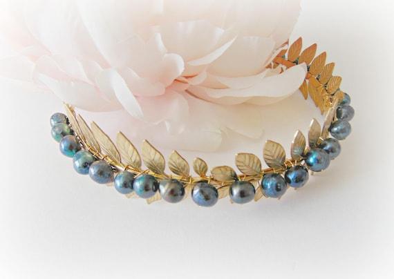Bridal Headband, Wedding Accessory, Laurel Leaf Headband, Pearl Headband, Wedding Headband, Leaf Headband, Freshwater Black Pearl, DARK FERN