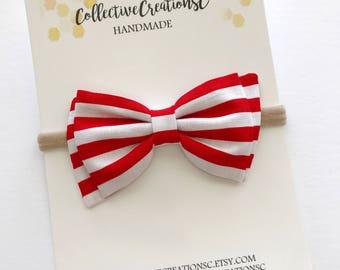 Red White Stripe Bow - Red White Baby Headband - Red Stripe Bow Headband - Red Stripe Fabric Bow - 4th of July Baby Bow - Patriotic Headband