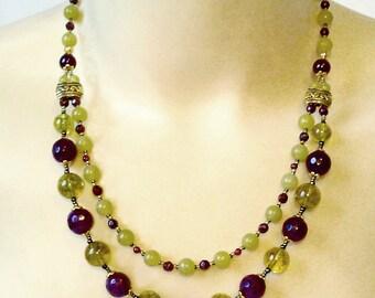 Collier double, Pierres de Grenat Rhodolite, Quartz, Serpentine, Plaqué Or - Rhodolite garnet, peridot quartz necklace