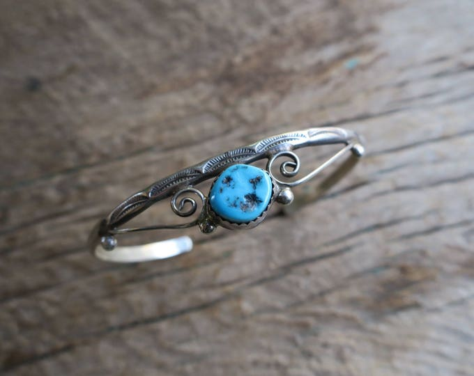 Vintage Scrolled Turquoise Cuff
