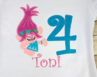 Trolls birthday shirt- Poppy shirt, Pink troll, baby girl birthday, girl birthday, troll birthday