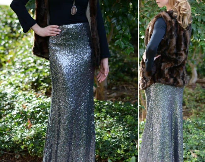 Dark Silver Maxi -Gorgeous high quality sequins- Long sequined skirt.