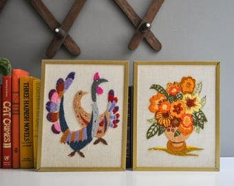 Pair of Mid-Century Crewel Wall Hangings - Flowers and Birds