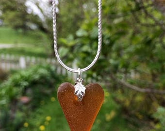 Mid Week Sale ---- English Genuine Sea Glass Heart Pendant
