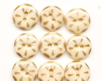 Vintage Antique China Stencil Buttons - Lot of 12 Tan and Cream   - size 9/16 inch
